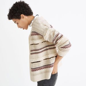 Madewell Paillette wool open cardigan sweater